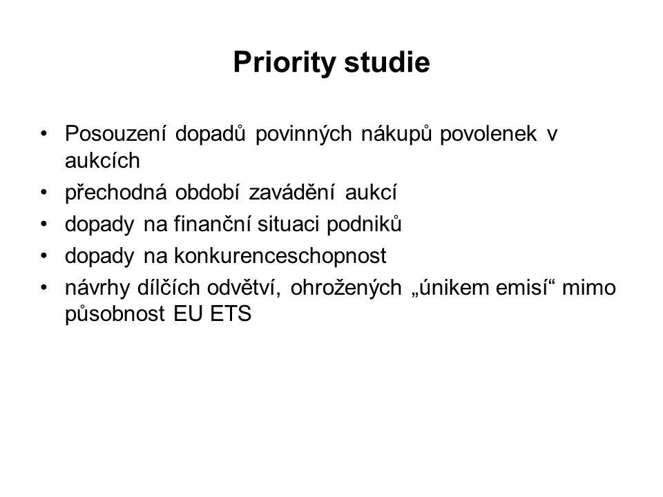 """Priority studie Posouzení dopadů povinných nákupů povolenek v aukcích přechodná období zavádění aukcí dopady na finanční situaci podniků dopady na konkurenceschopnost návrhy dílčích odvětví, ohrožených """"únikem emisí mimo působnost EU ETS"""