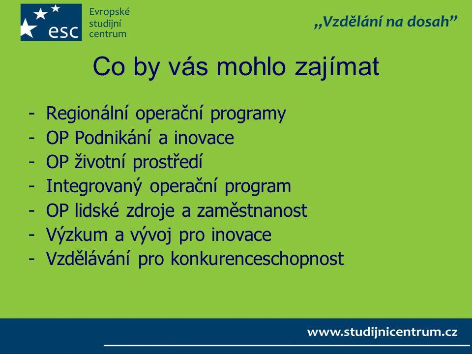 Co by vás mohlo zajímat -Regionální operační programy -OP Podnikání a inovace -OP životní prostředí -Integrovaný operační program -OP lidské zdroje a zaměstnanost -Výzkum a vývoj pro inovace -Vzdělávání pro konkurenceschopnost