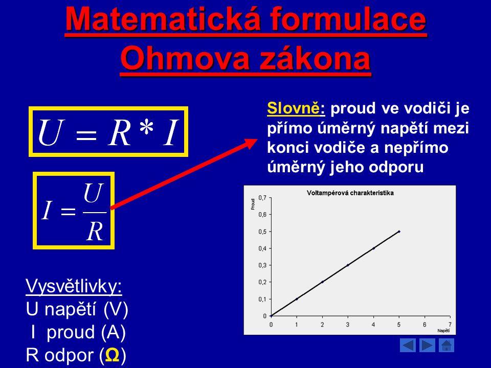 Elektrický odpor, Ohmův zákon Elektrický odpor R je skalární fyzikální veličina, jež vyjadřuje vlastnost dané látky bránit průchodu nositelů elektrického proudu.