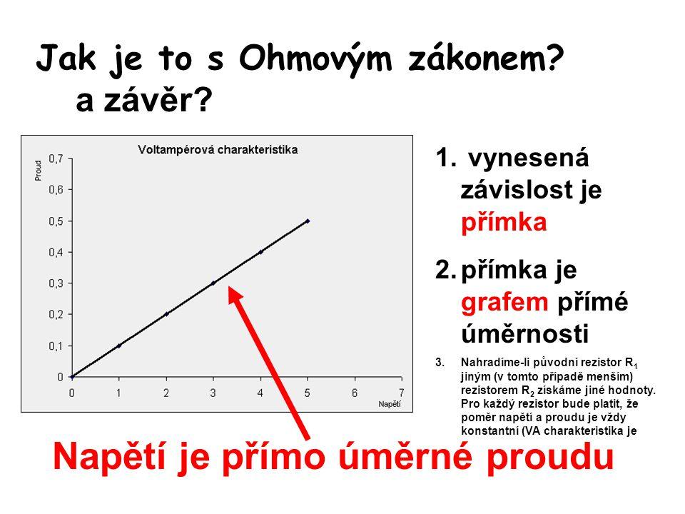 Matematická formulace Ohmova zákona Slovně: proud ve vodiči je přímo úměrný napětí mezi konci vodiče a nepřímo úměrný jeho odporu Vysvětlivky: U napětí (V) I proud (A) R odpor (Ω)