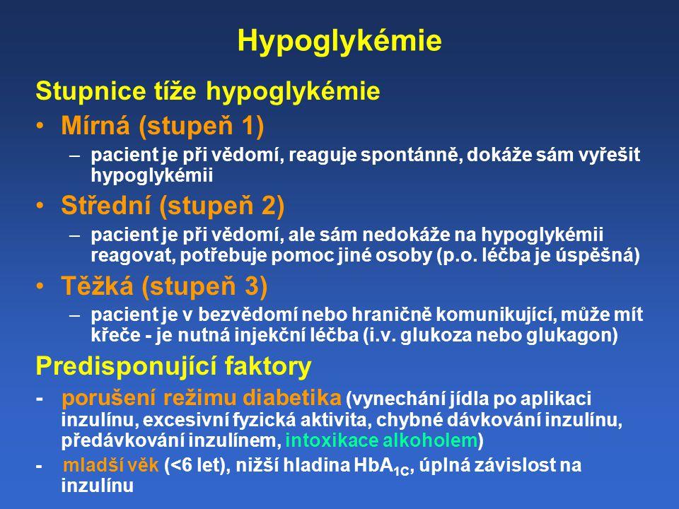 Hypoglykémie Stupnice tíže hypoglykémie Mírná (stupeň 1) –pacient je při vědomí, reaguje spontánně, dokáže sám vyřešit hypoglykémii Střední (stupeň 2) –pacient je při vědomí, ale sám nedokáže na hypoglykémii reagovat, potřebuje pomoc jiné osoby (p.o.