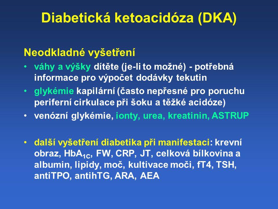 Léčba DKA: Resuscitace Rehydratace Substituce elektrolytů Náhrada inzulínu Úprava metabolické acidózy Monitoring DKA komplikací a léčby Diagnostika příčiny DKA