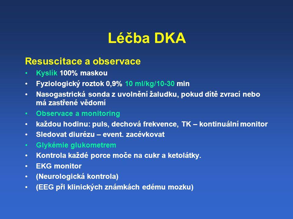 Léčba DKA Resuscitace a observace Kyslík 100% maskou Fyziologický roztok 0,9% 10 ml/kg/10-30 min Nasogastrická sonda z uvolnění žaludku, pokud dítě zvrací nebo má zastřené vědomí Observace a monitoring každou hodinu: puls, dechová frekvence, TK – kontinuální monitor Sledovat diurézu – event.