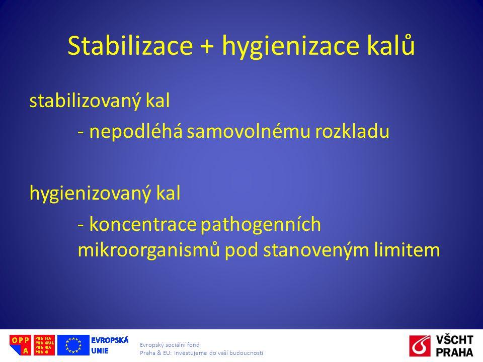Evropský sociální fond Praha & EU: Investujeme do vaší budoucnosti Stabilizace + hygienizace kalů stabilizovaný kal - nepodléhá samovolnému rozkladu h
