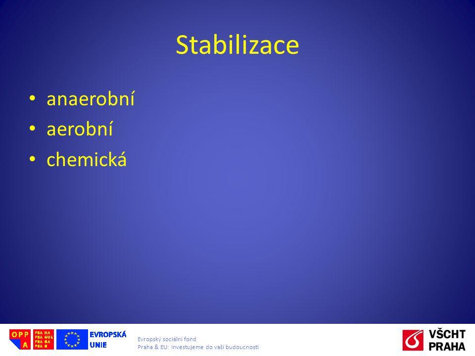 Evropský sociální fond Praha & EU: Investujeme do vaší budoucnosti Stabilizace anaerobní aerobní chemická