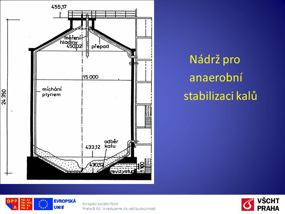 Evropský sociální fond Praha & EU: Investujeme do vaší budoucnosti Nádrž pro anaerobní stabilizaci kalů