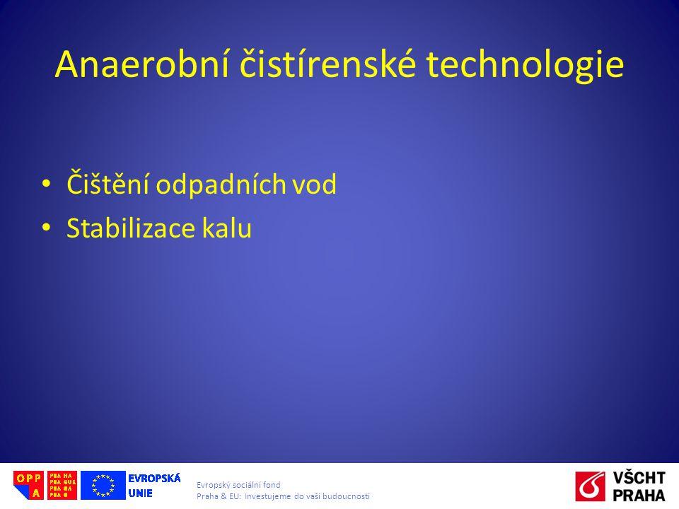 Evropský sociální fond Praha & EU: Investujeme do vaší budoucnosti Anaerobní čistírenské technologie Čištění odpadních vod Stabilizace kalu