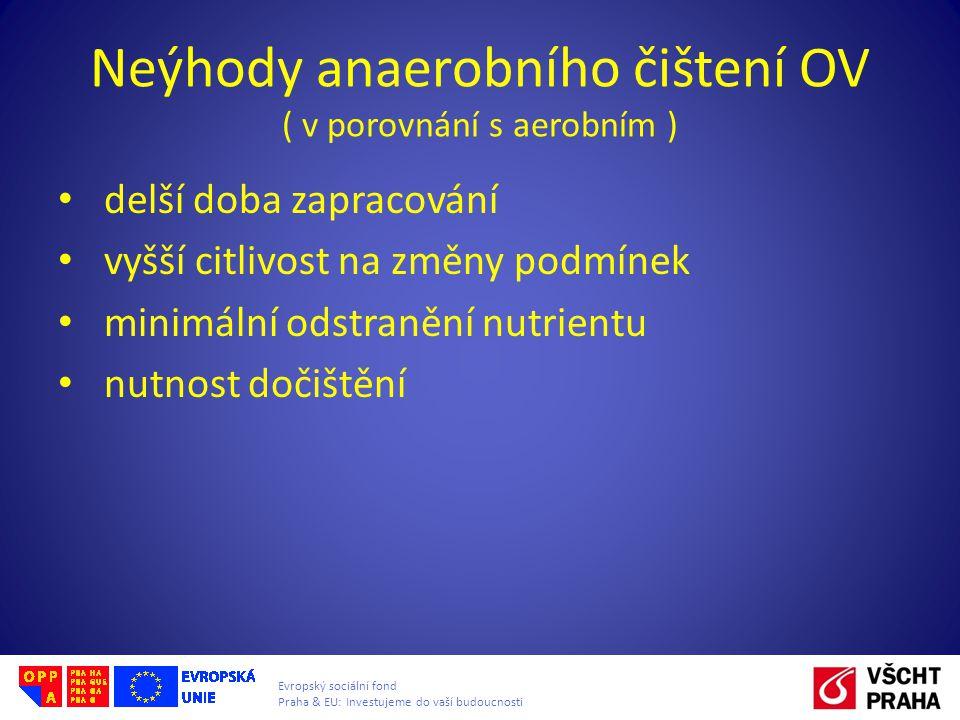 Evropský sociální fond Praha & EU: Investujeme do vaší budoucnosti Neýhody anaerobního čištení OV ( v porovnání s aerobním ) delší doba zapracování vy