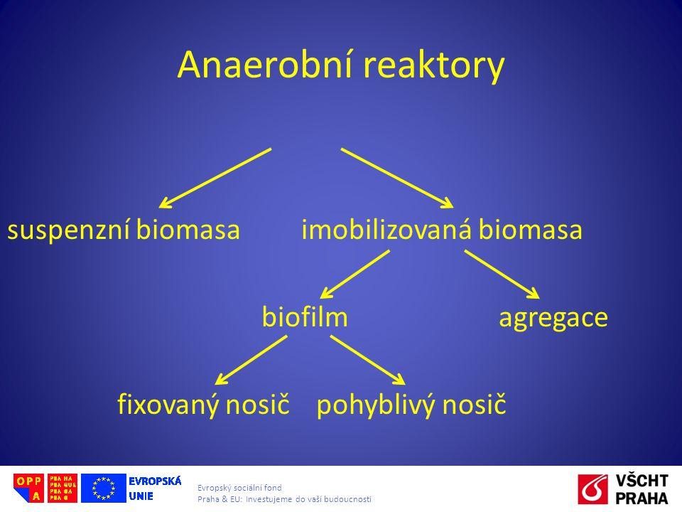 Evropský sociální fond Praha & EU: Investujeme do vaší budoucnosti Anaerobní reaktory suspenzní biomasa imobilizovaná biomasa biofilm agregace fixovan