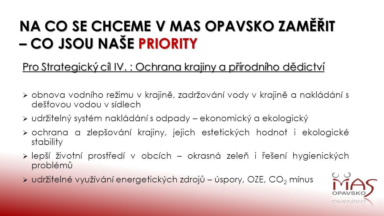 NA CO SE CHCEME V MAS OPAVSKO ZAMĚŘIT – CO JSOU NAŠE PRIORITY Pro Strategický cíl IV.