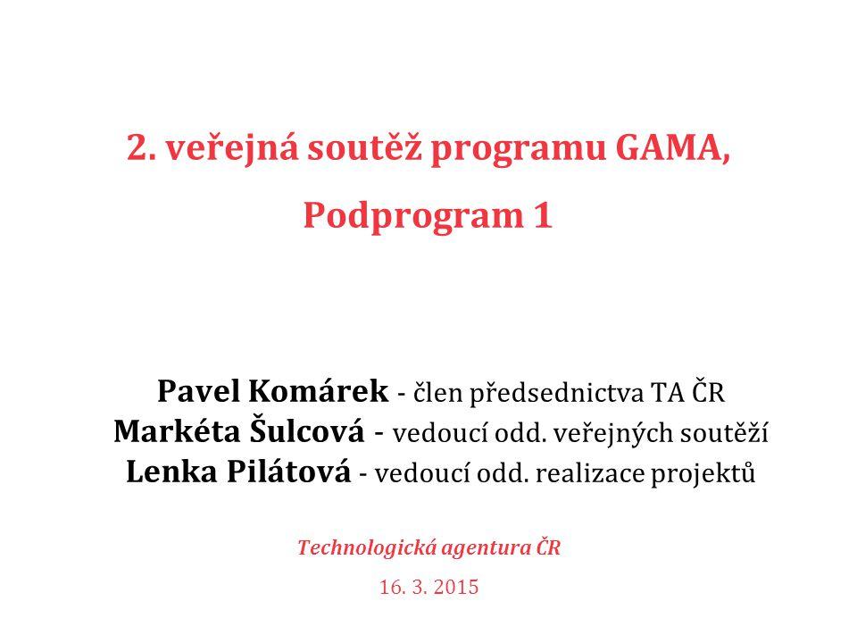 GAMA Zaměření Podpora ověření využitelnosti výsledků VaV v praxi.