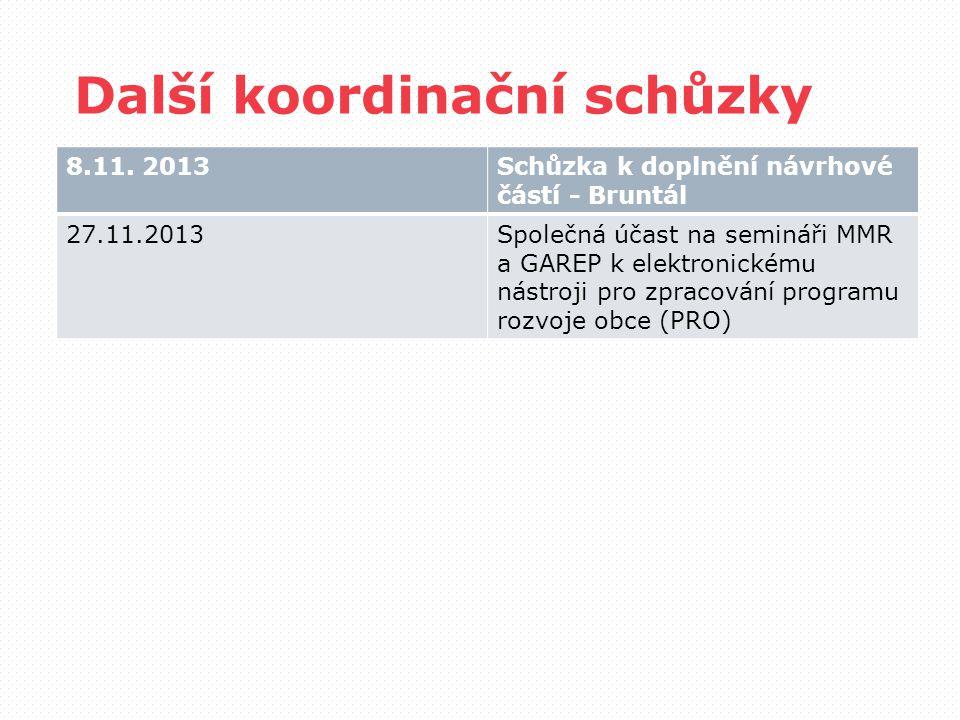 Další koordinační schůzky 8.11.