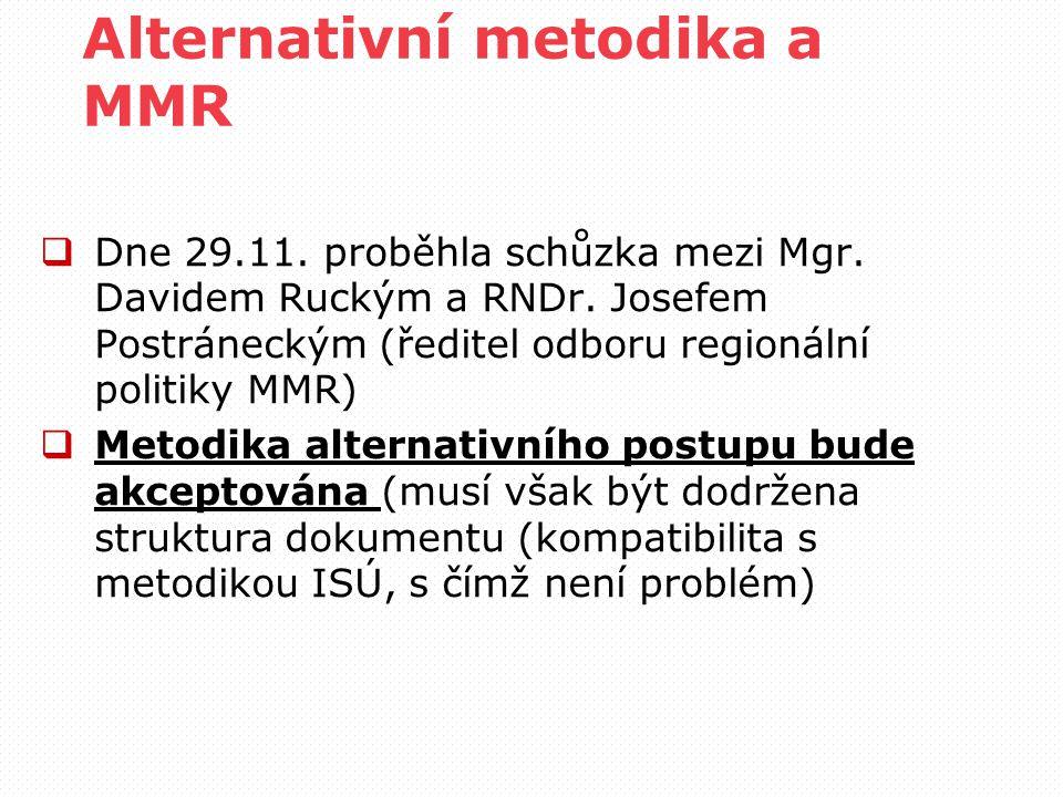 Alternativní metodika a MMR  Dne 29.11. proběhla schůzka mezi Mgr.