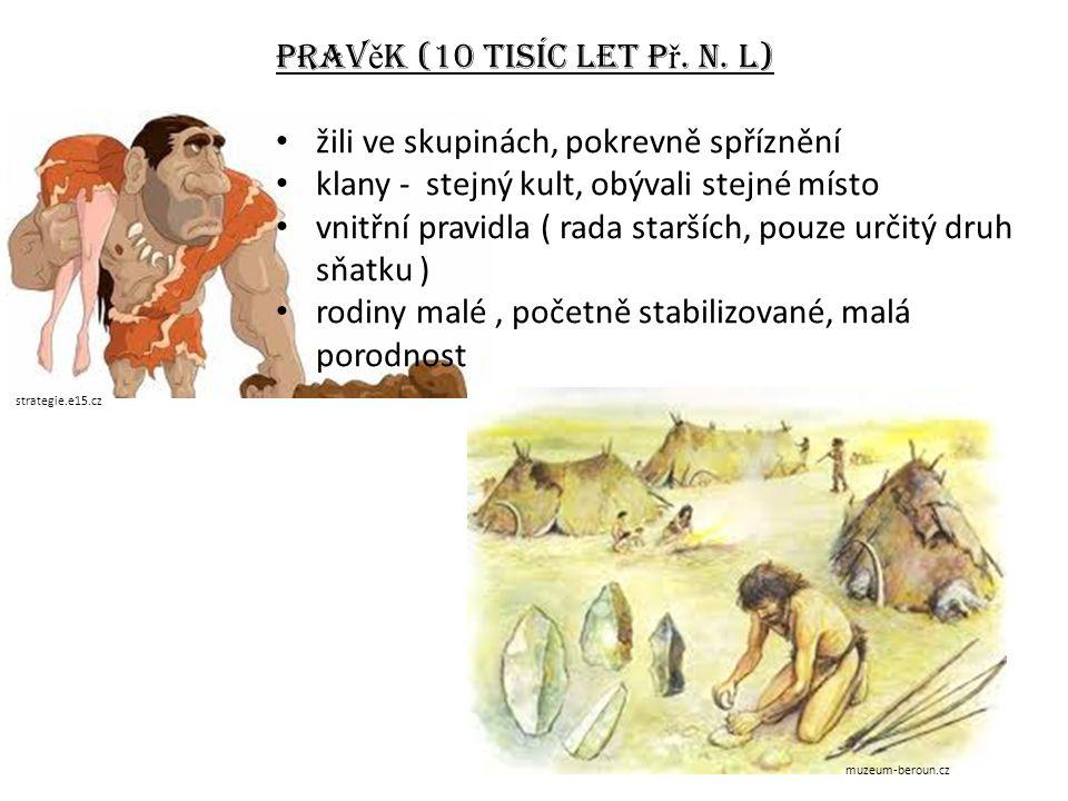 Prav ě k (10 tisíc let p ř. n. l) žili ve skupinách, pokrevně spříznění klany - stejný kult, obývali stejné místo vnitřní pravidla ( rada starších, po
