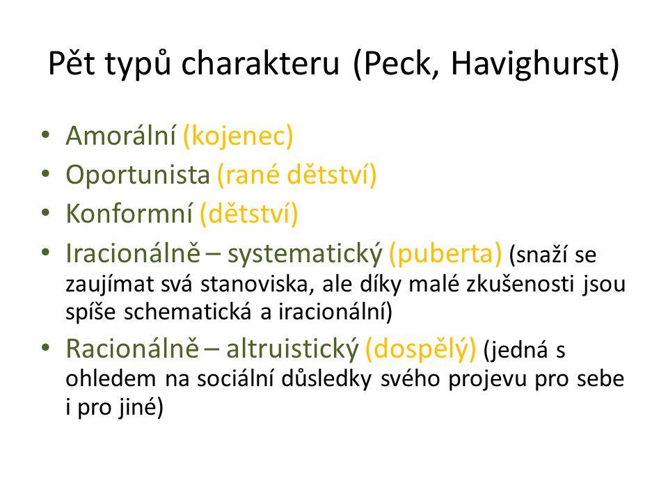 Pět typů charakteru (Peck, Havighurst) Amorální (kojenec) Oportunista (rané dětství) Konformní (dětství) Iracionálně – systematický (puberta) (snaží se zaujímat svá stanoviska, ale díky malé zkušenosti jsou spíše schematická a iracionální) Racionálně – altruistický (dospělý) (jedná s ohledem na sociální důsledky svého projevu pro sebe i pro jiné)