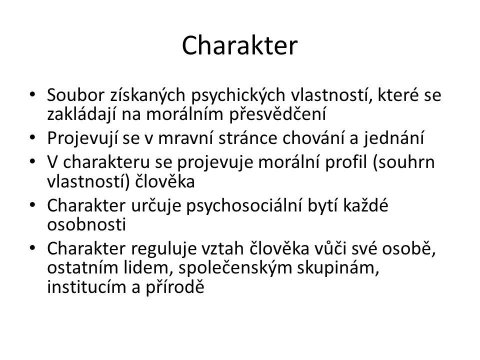 Charakter Soubor získaných psychických vlastností, které se zakládají na morálním přesvědčení Projevují se v mravní stránce chování a jednání V charak
