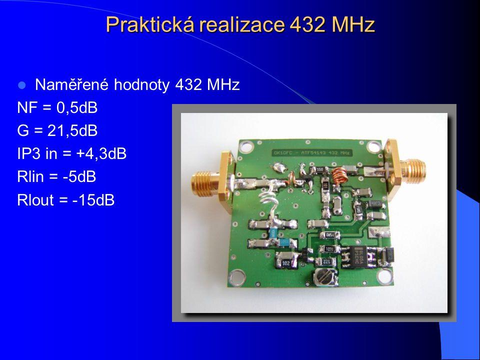 Praktická realizace 432 MHz Naměřené hodnoty 432 MHz NF = 0,5dB G = 21,5dB IP3 in = +4,3dB Rlin = -5dB Rlout = -15dB