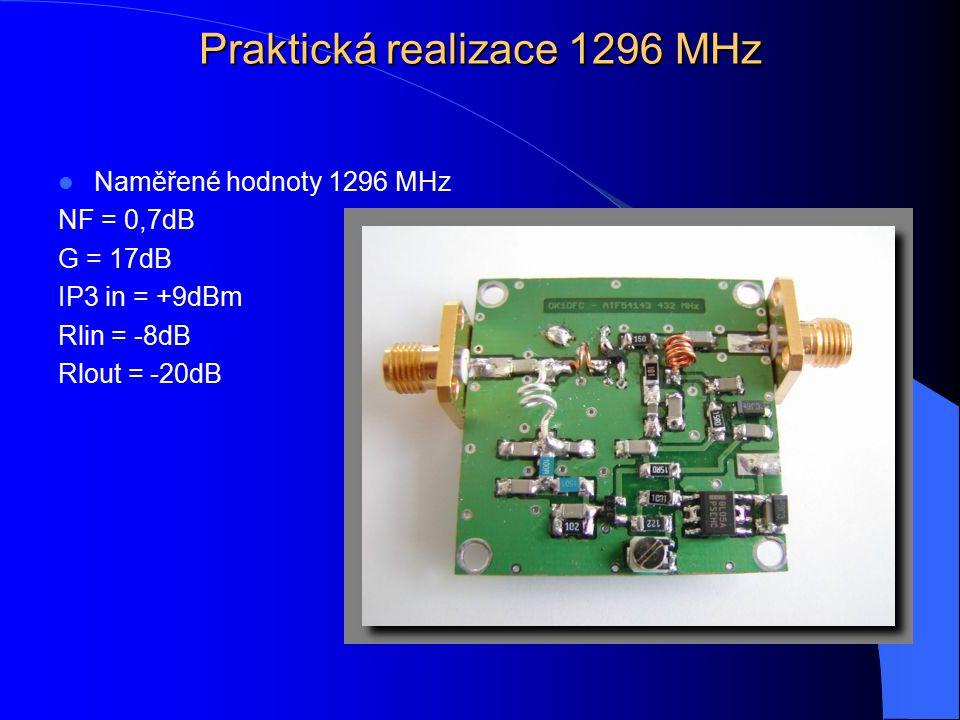 Praktická realizace 1296 MHz Naměřené hodnoty 1296 MHz NF = 0,7dB G = 17dB IP3 in = +9dBm Rlin = -8dB Rlout = -20dB