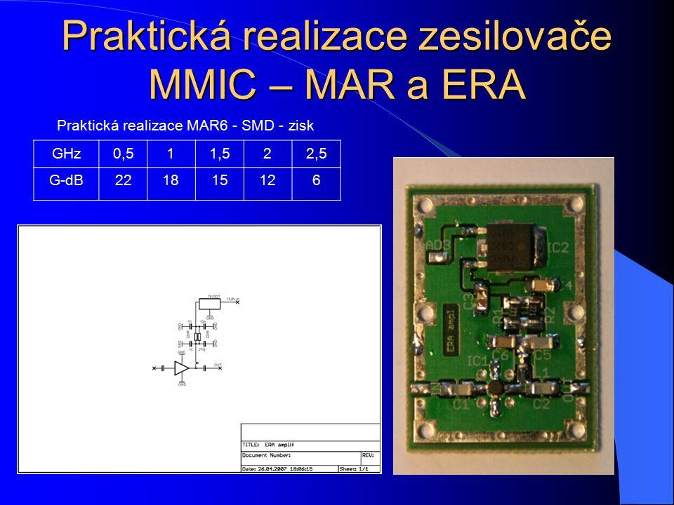 Praktická realizace zesilovače MMIC – MAR a ERA GHz0,511,522,5 G-dB221815126 Praktická realizace MAR6 - SMD - zisk