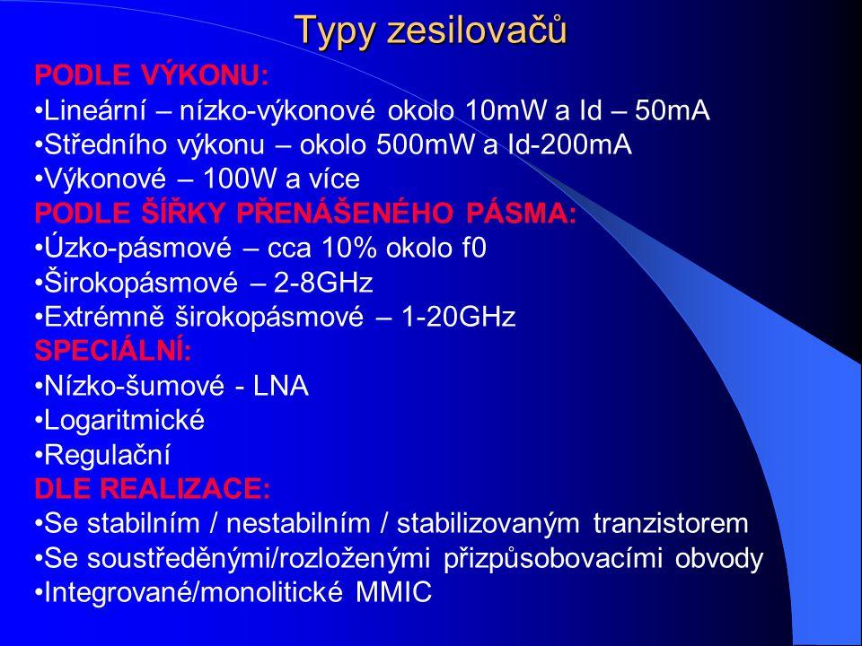 Typy zesilovačů PODLE VÝKONU: Lineární – nízko-výkonové okolo 10mW a Id – 50mA Středního výkonu – okolo 500mW a Id-200mA Výkonové – 100W a více PODLE