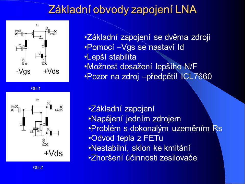 Základní obvody zapojení LNA Obr.1 Obr.2 Základní zapojení se dvěma zdroji Pomocí –Vgs se nastaví Id Lepší stabilita Možnost dosažení lepšího N/F Pozo