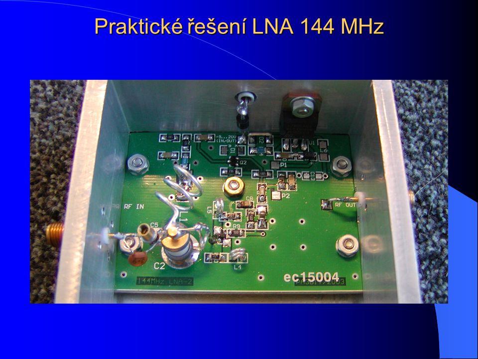 Optimalizace řešení LNA nebo vstupu Základní zapojení s HEMT Napájení jedním zdrojem a měničem polarity Ochranné rychlé Zener diody Stabilní zapojení Dobrá účinnost Dosažení minimálního N/F