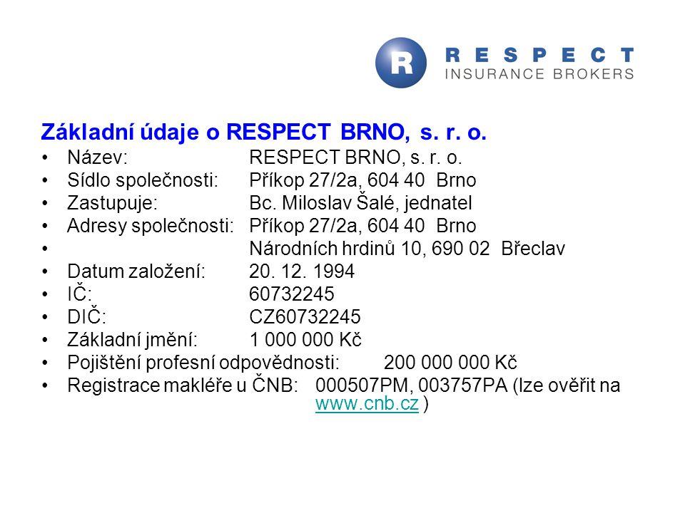 Základní údaje o RESPECT BRNO, s. r. o. Název:RESPECT BRNO, s. r. o. Sídlo společnosti:Příkop 27/2a, 604 40 Brno Zastupuje:Bc. Miloslav Šalé, jednatel
