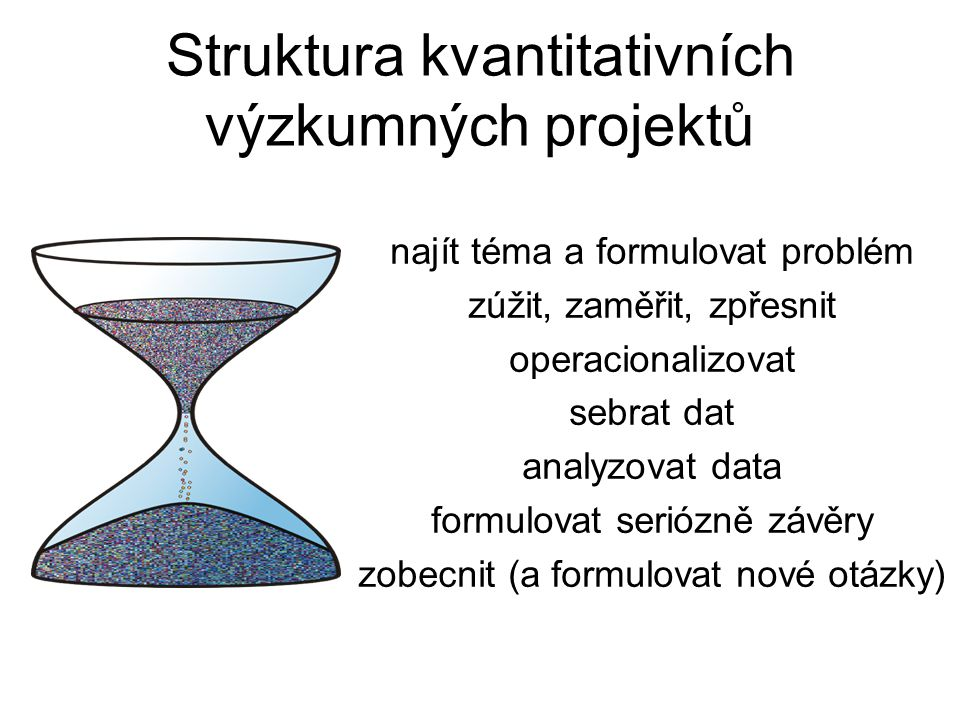 najít téma a formulovat problém zúžit, zaměřit, zpřesnit operacionalizovat sebrat dat analyzovat data formulovat seriózně závěry zobecnit (a formulova