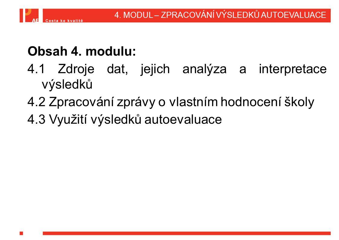 4. MODUL – ZPRACOVÁNÍ VÝSLEDKŮ AUTOEVALUACE Obsah 4. modulu: 4.1 Zdroje dat, jejich analýza a interpretace výsledků 4.2 Zpracování zprávy o vlastním h