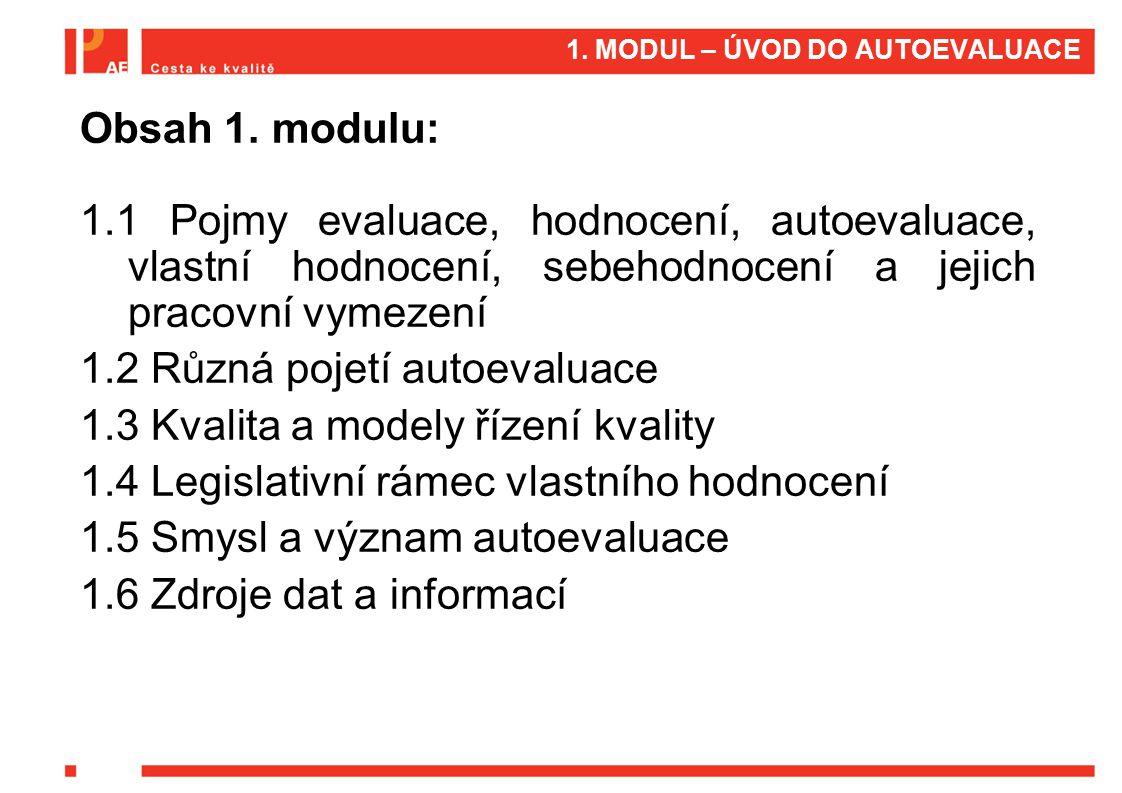 Obsah 1. modulu: 1.1 Pojmy evaluace, hodnocení, autoevaluace, vlastní hodnocení, sebehodnocení a jejich pracovní vymezení 1.2 Různá pojetí autoevaluac