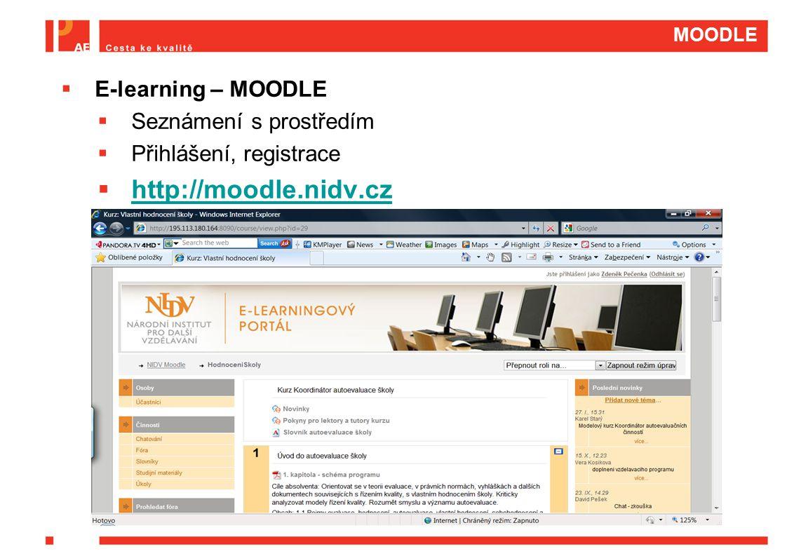 MOODLE  E-learning – MOODLE  Seznámení s prostředím  Přihlášení, registrace  http://moodle.nidv.cz http://moodle.nidv.cz