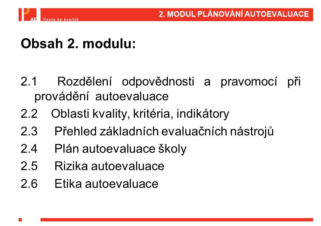 2. MODUL PLÁNOVÁNÍ AUTOEVALUACE Obsah 2. modulu: 2.1 Rozdělení odpovědnosti a pravomocí při provádění autoevaluace 2.2 Oblasti kvality, kritéria, indi