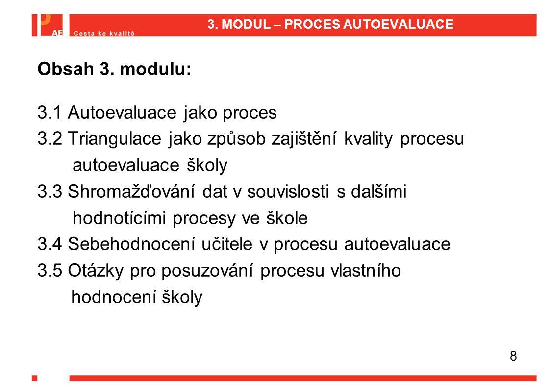 3. MODUL – PROCES AUTOEVALUACE Obsah 3. modulu: 3.1 Autoevaluace jako proces 3.2 Triangulace jako způsob zajištění kvality procesu autoevaluace školy