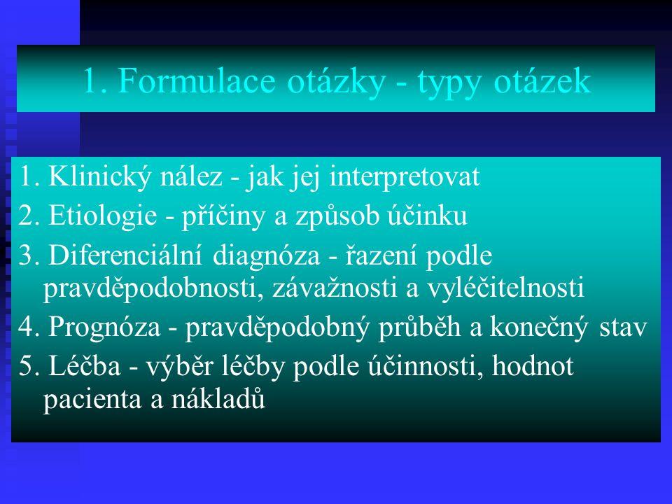 1. Formulace otázky - typy otázek 1. Klinický nález - jak jej interpretovat 2. Etiologie - příčiny a způsob účinku 3. Diferenciální diagnóza - řazení