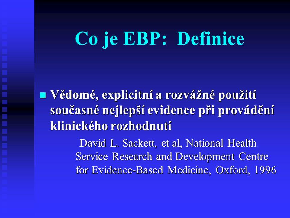 Co je EBP: Definice Vědomé, explicitní a rozvážné použití současné nejlepší evidence při provádění klinického rozhodnutí Vědomé, explicitní a rozvážné