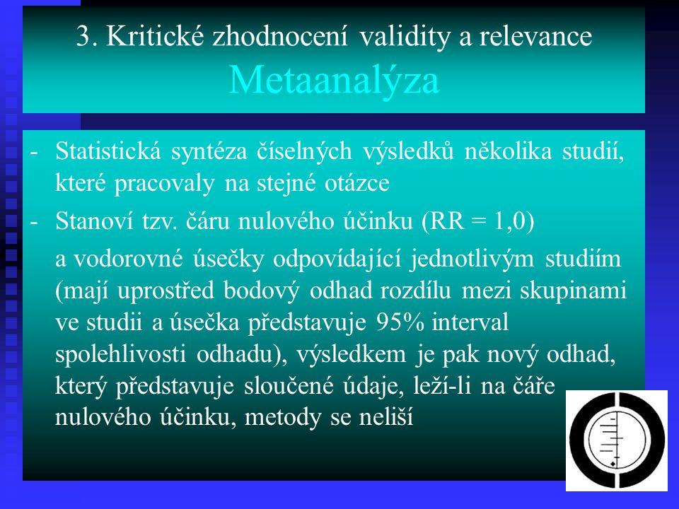 3. Kritické zhodnocení validity a relevance Metaanalýza -Statistická syntéza číselných výsledků několika studií, které pracovaly na stejné otázce -Sta