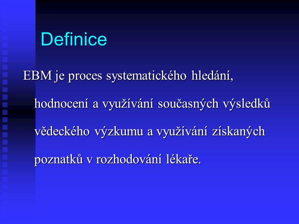 Definice EBM je proces systematického hledání, hodnocení a využívání současných výsledků vědeckého výzkumu a využívání získaných poznatků v rozhodován