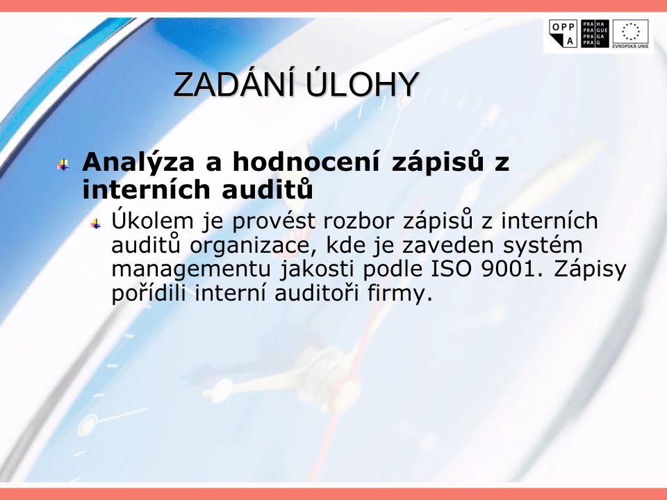 ZADÁNÍ ÚLOHY Analýza a hodnocení zápisů z interních auditů Úkolem je provést rozbor zápisů z interních auditů organizace, kde je zaveden systém manage