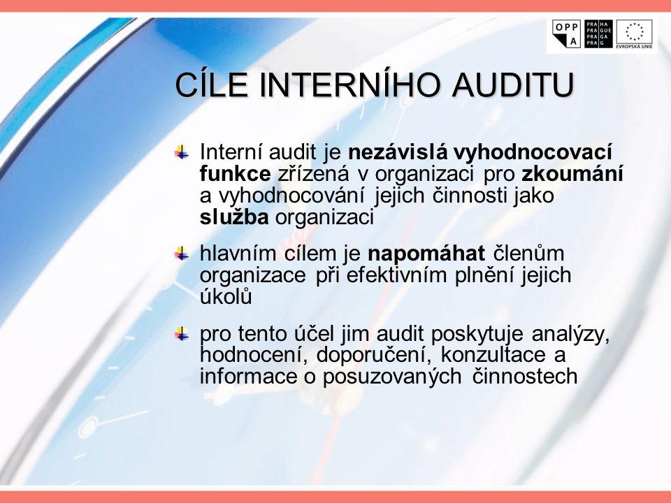 CÍLE INTERNÍHO AUDITU Interní audit je nezávislá vyhodnocovací funkce zřízená v organizaci pro zkoumání a vyhodnocování jejich činnosti jako služba or