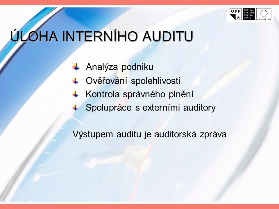 ÚLOHA INTERNÍHO AUDITU Analýza podniku Ověřování spolehlivosti Kontrola správného plnění Spolupráce s externími auditory Výstupem auditu je auditorská