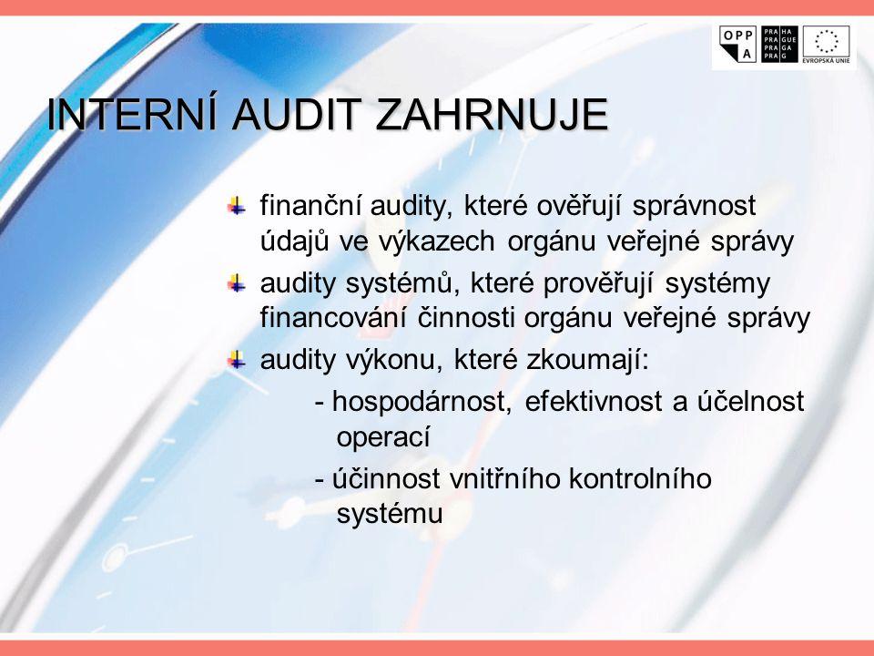 INTERNÍ AUDIT ZAHRNUJE finanční audity, které ověřují správnost údajů ve výkazech orgánu veřejné správy audity systémů, které prověřují systémy financ