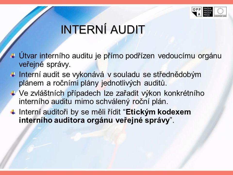 INTERNÍ AUDIT Útvar interního auditu je přímo podřízen vedoucímu orgánu veřejné správy. Interní audit se vykonává v souladu se střednědobým plánem a r