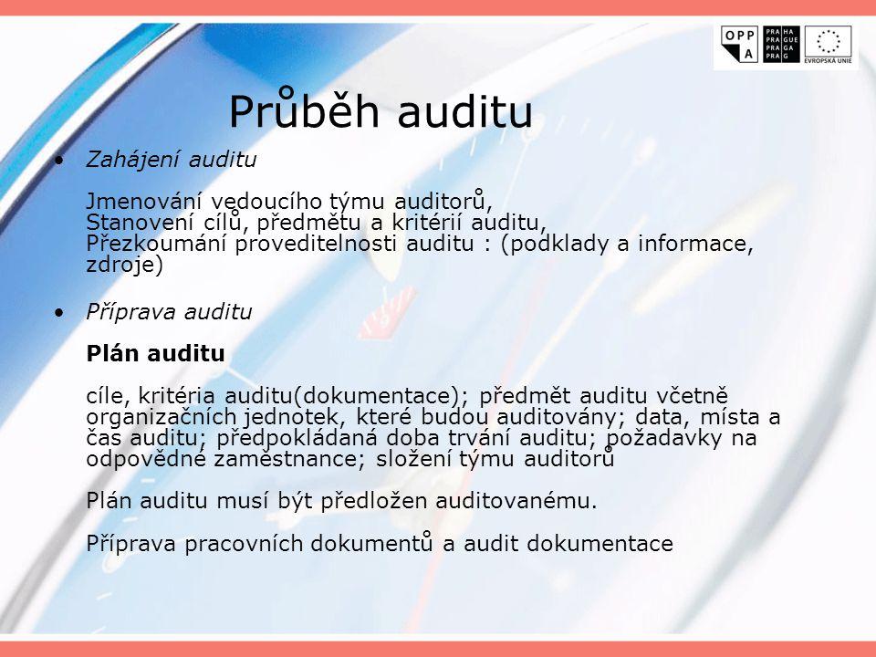 Audit na místě Úvodní jednání s managementem potvrzení plánu auditu, komunikačních a organizačních záležitostí; vyjasnění případných námitek; prezenční listina Skutečná realizace procesů shoda reálného postupu s dokumentací Získávání informací pohovory, pozorováním, dokumenty, záznamy