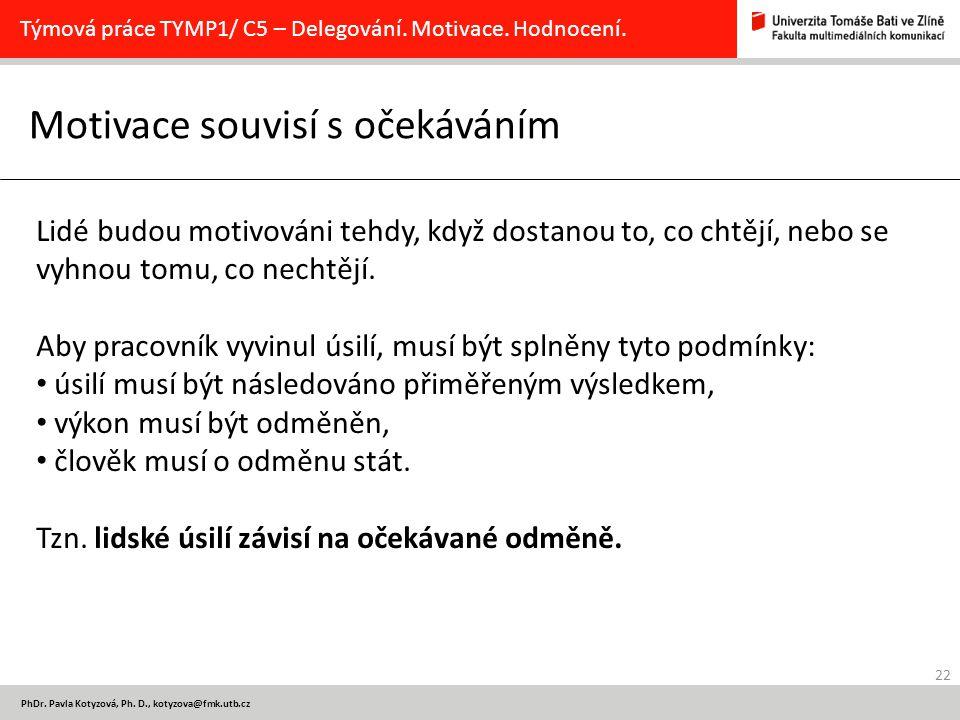 22 PhDr. Pavla Kotyzová, Ph. D., kotyzova@fmk.utb.cz Motivace souvisí s očekáváním Týmová práce TYMP1/ C5 – Delegování. Motivace. Hodnocení. Lidé budo