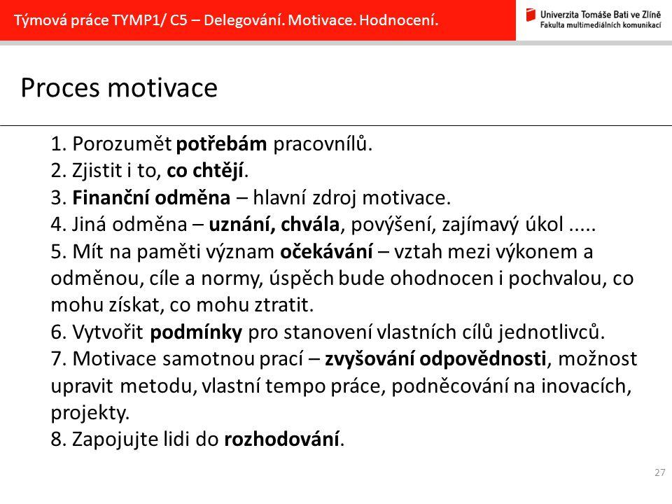 27 Proces motivace Týmová práce TYMP1/ C5 – Delegování. Motivace. Hodnocení. 1. Porozumět potřebám pracovnílů. 2. Zjistit i to, co chtějí. 3. Finanční