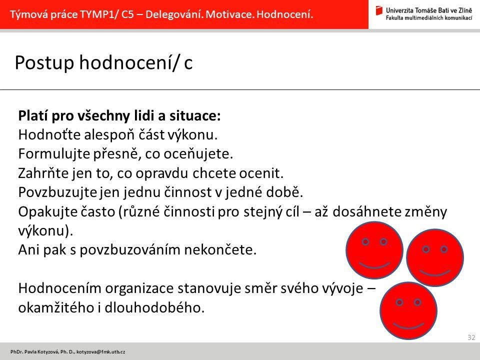 32 PhDr. Pavla Kotyzová, Ph. D., kotyzova@fmk.utb.cz Postup hodnocení/ c Týmová práce TYMP1/ C5 – Delegování. Motivace. Hodnocení. Platí pro všechny l
