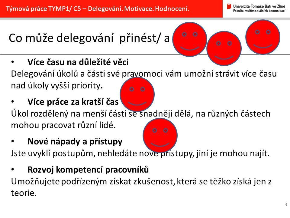 4 Co může delegování přinést/ a Týmová práce TYMP1/ C5 – Delegování. Motivace. Hodnocení. Více času na důležité věci Delegování úkolů a části své prav
