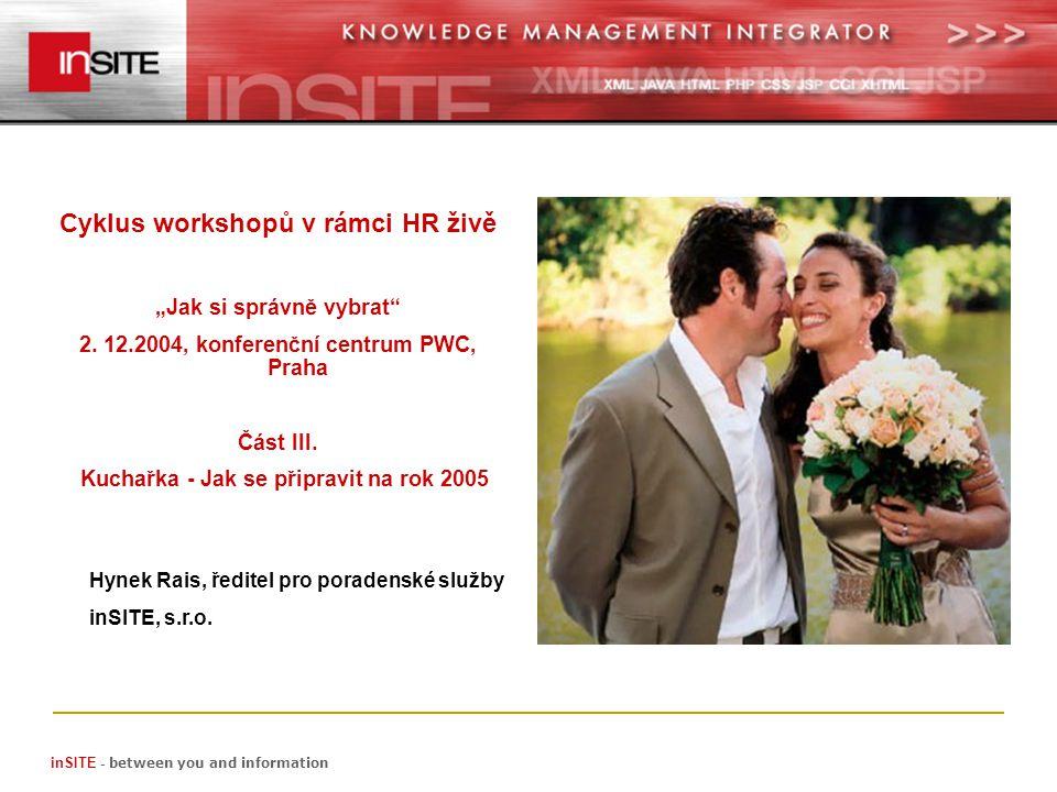 inSITE - between you and information Hynek Rais, ředitel pro poradenské služby inSITE, s.r.o.