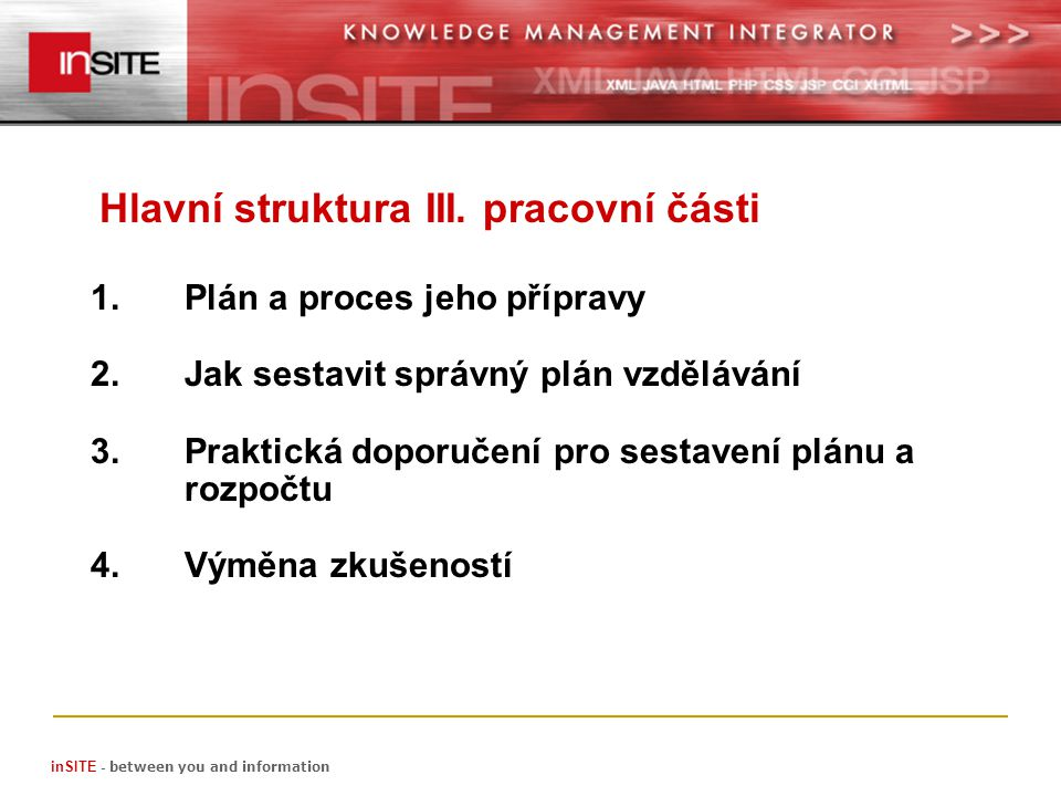 1.Plán a proces jeho přípravy 2.Jak sestavit správný plán vzdělávání 3.Praktická doporučení pro sestavení plánu a rozpočtu 4.Výměna zkušeností Hlavní struktura III.