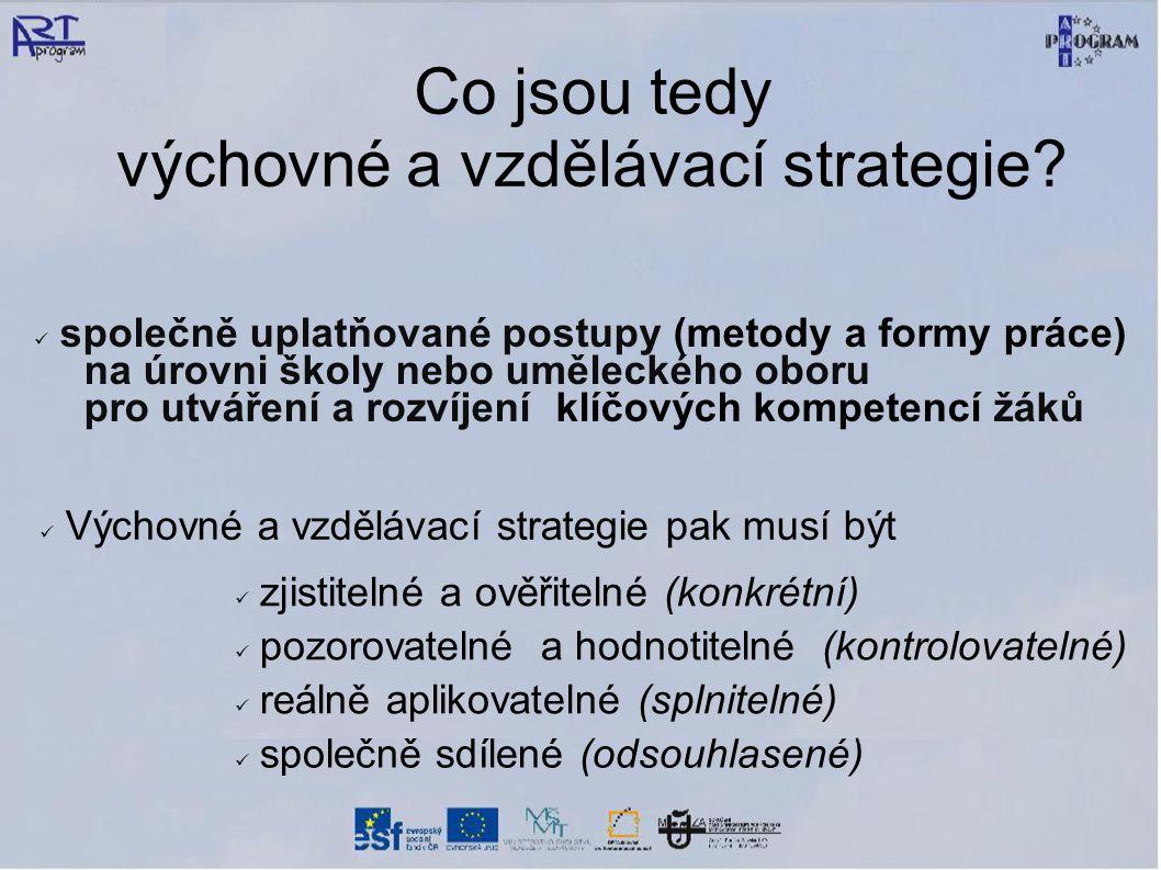 Co jsou tedy výchovné a vzdělávací strategie.
